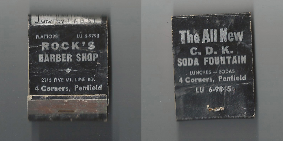 Rock's Barber Shop matchbook.