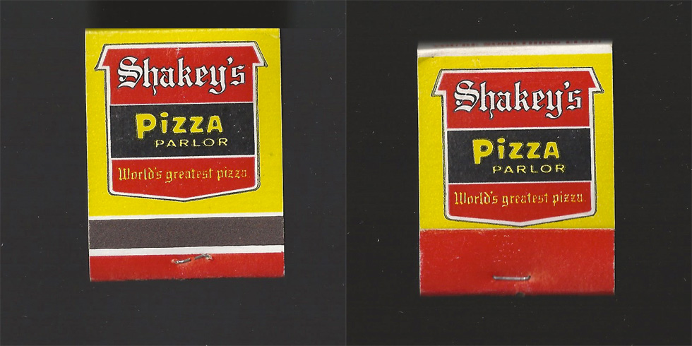 Shakey's Pizza Parlor matchbook.