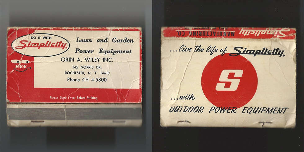 Simplicity Lawn and Garden Power Equipment matchbook.
