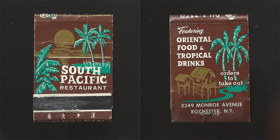 South Pacific Restaurant matchbook.