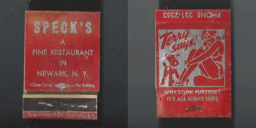 Speck's Restaurant matchbook.