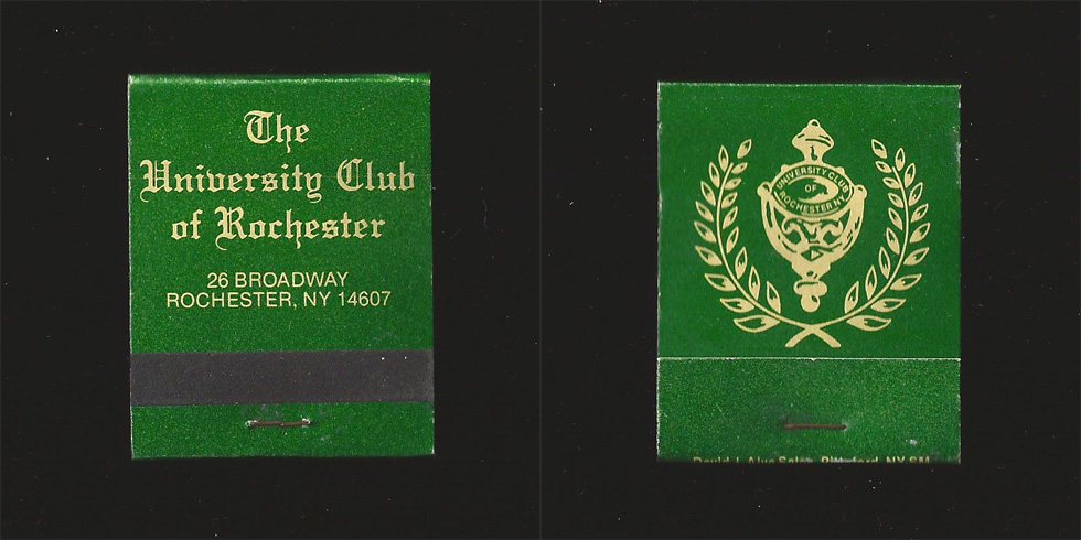The University Club of Rochester matchbook.