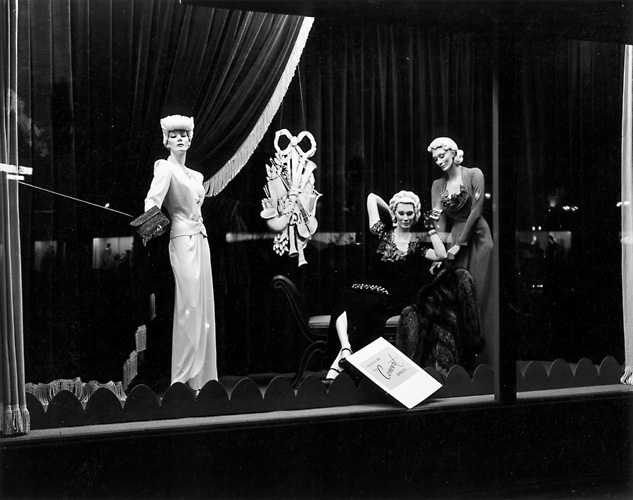 This scene shows mannequins dressed up for a concert. c.1940. [PHOTO: Rochester Public Library]