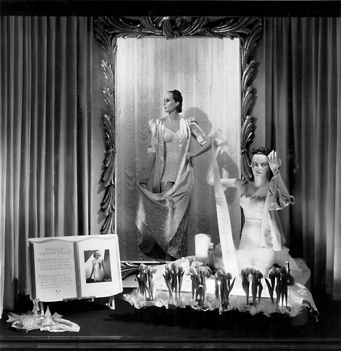This scene features mannequins in women's lingerie. c.1940. [PHOTO: Rochester Public Library]