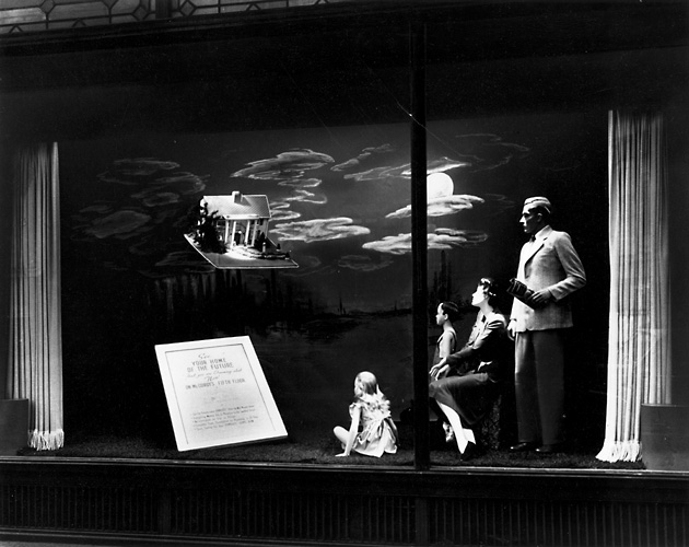 'See your home of the future that you are dreaming about now.' This scene shows a family looking into the sky at a dream home. c.1940. [PHOTO: Rochester Public Library]