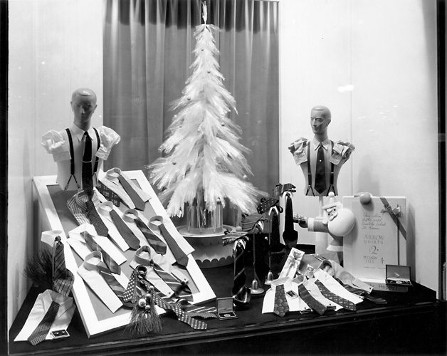 This scene shows a display of men's Arrow shirts and neckwear. c.1940. [PHOTO: Rochester Public Library]
