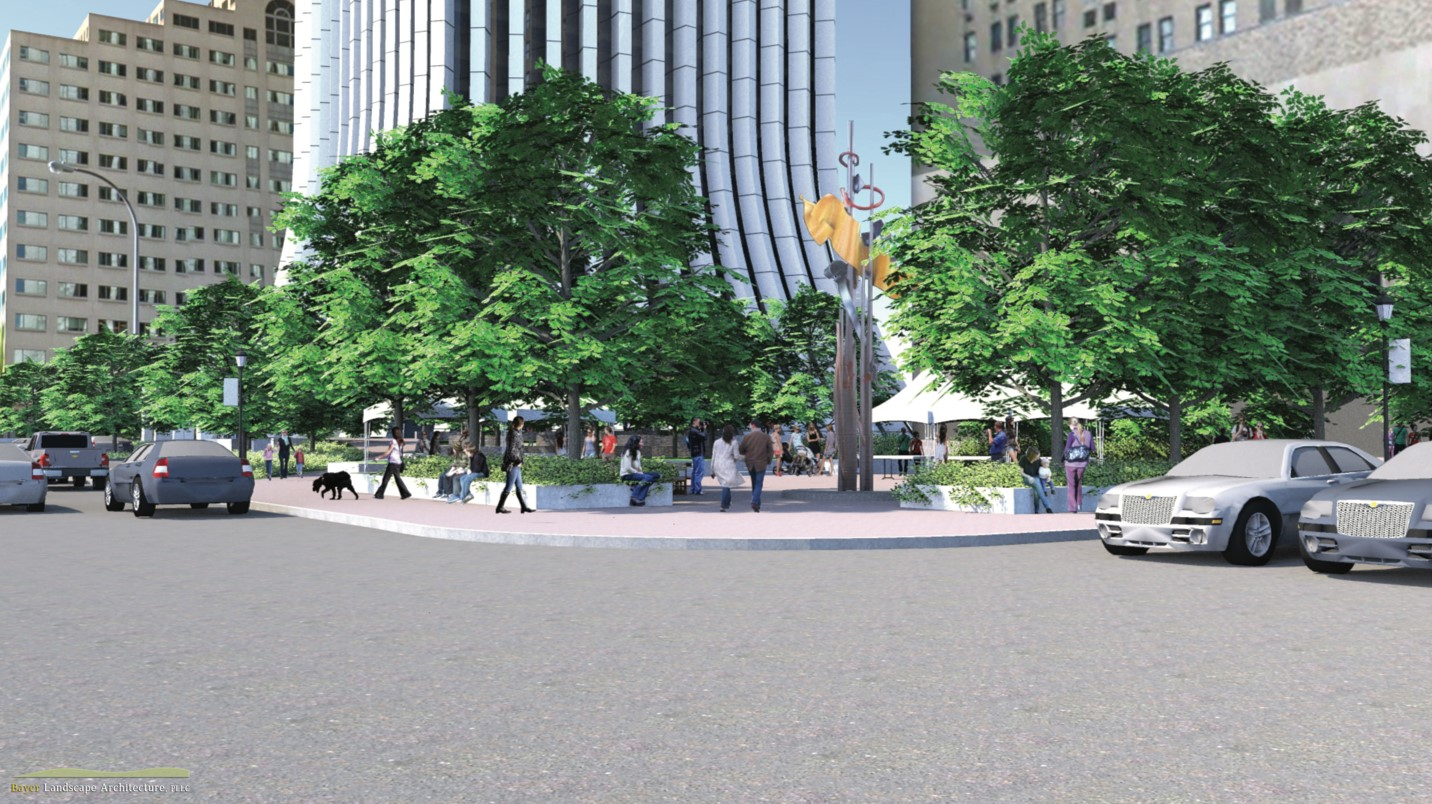 A new main entrance will be added to the building along Clinton Avenue. Additional plans include a revitalized green space at Clinton Avenue and East Main Street. [IMAGE: Hanlon Architects and Bayer Landscape Architecture]