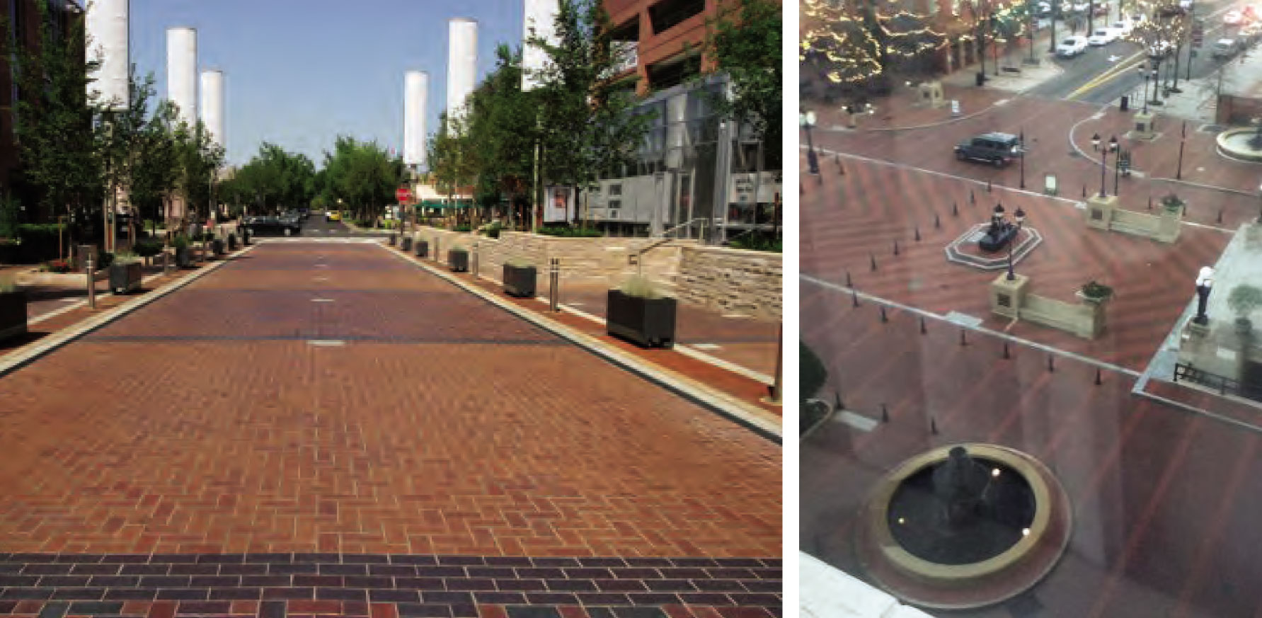 Reference photos for pedestrian plaza/street.