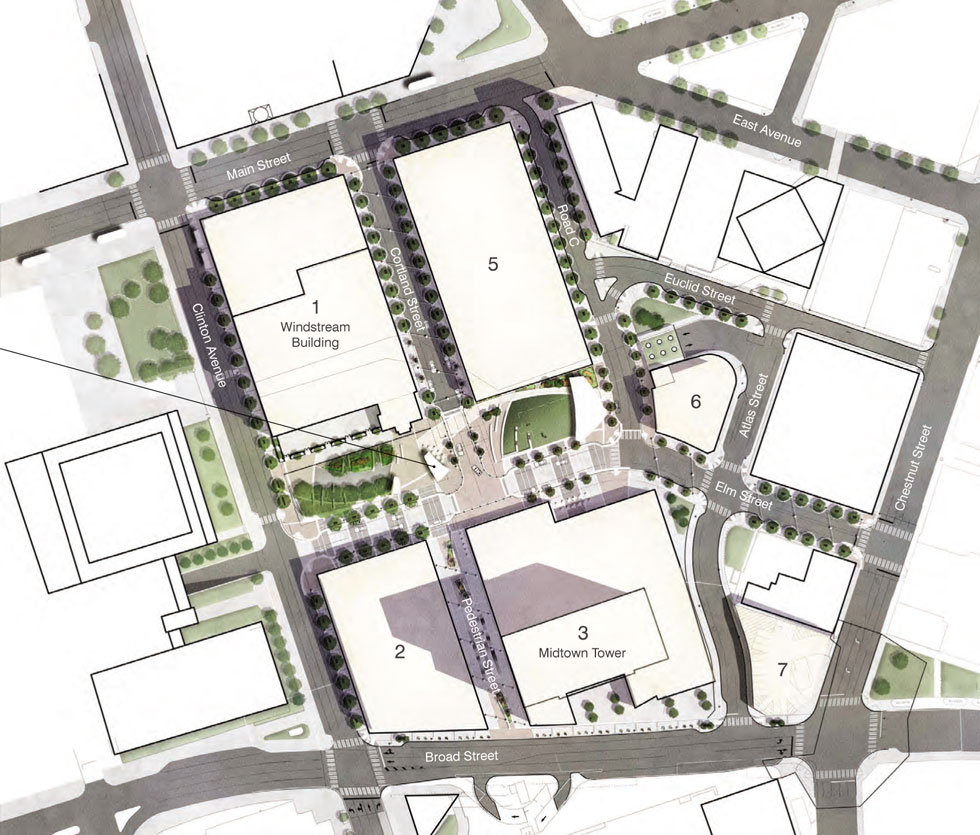 The Midtown Plaza site plan. There's site 6, over on the east side.