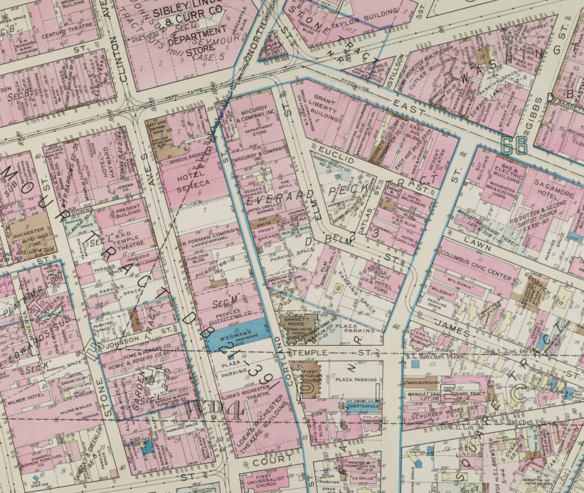 Rochester plat map from 1935 of midtown area.