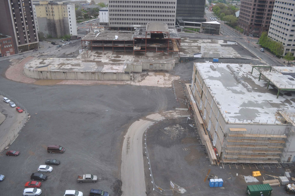 Midtown Plaza site, Rochester, NY. [PHOTO: Earthcam.com Archives]