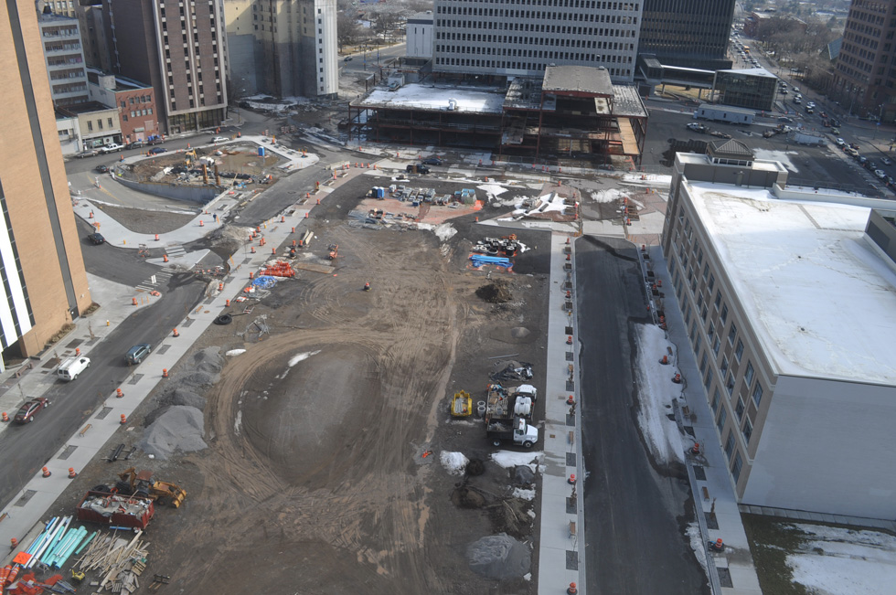 The City of Rochester is asking the public to name the new street and plaza at the Midtown site. [PHOTO: Earthcam.com]