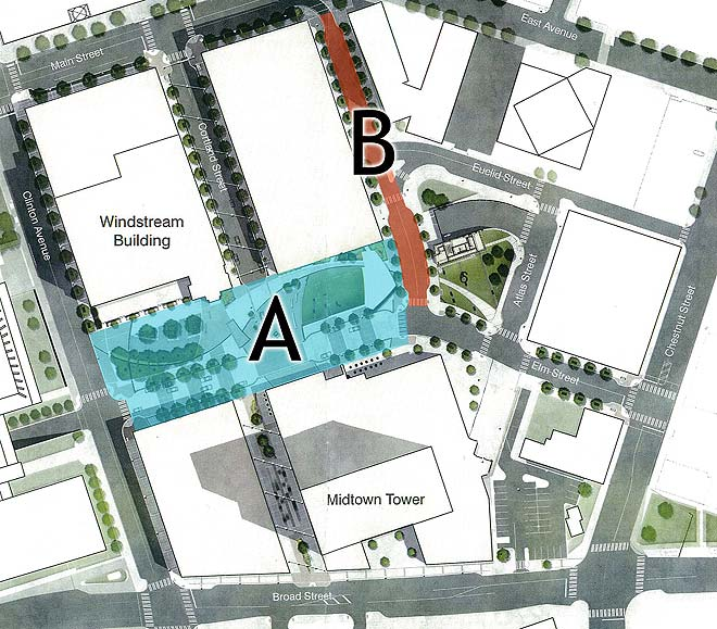 You have a chance to name the new plaza (A) and street (B) at Midtown.