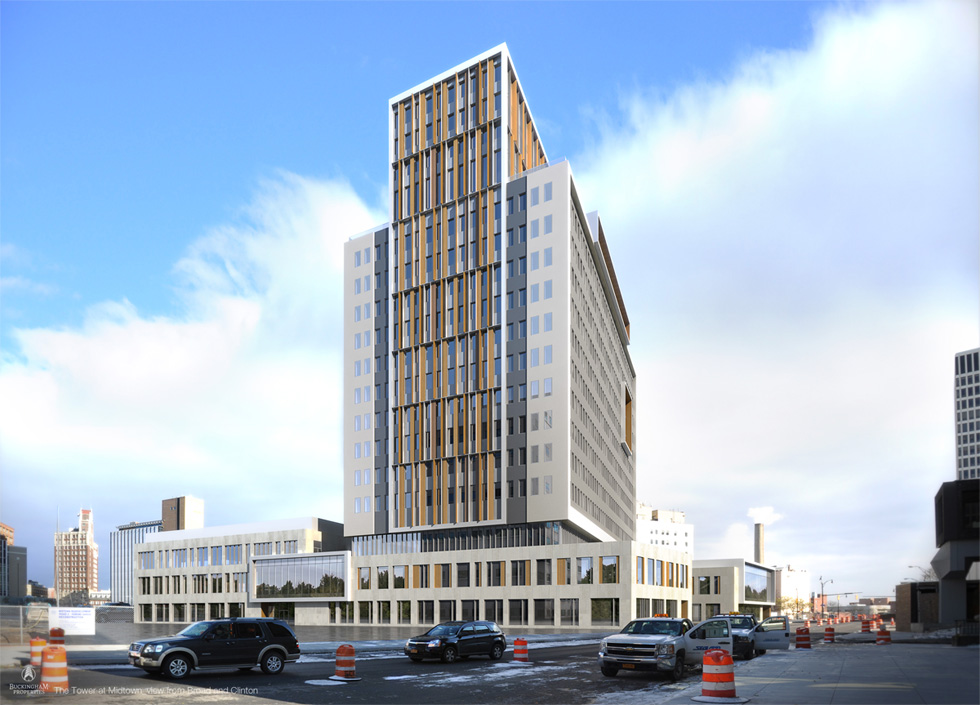 New rendering of Midtown Tower, Rochester NY. [IMAGE PROVIDED BY: Buckingham Properties]