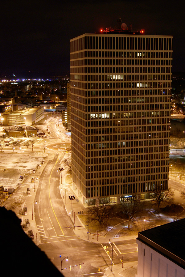 The view from inside Midtown Tower, Rochester NY.