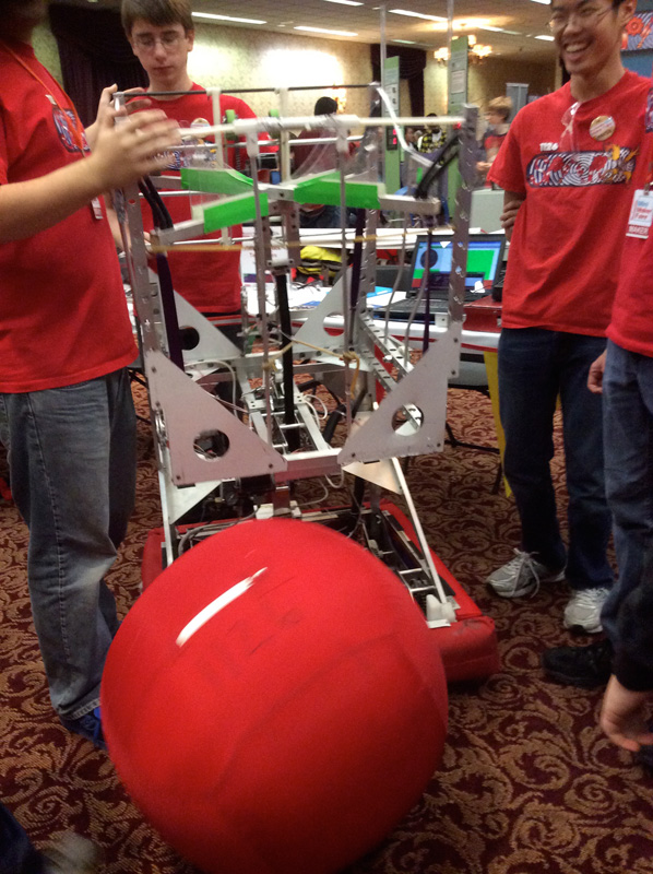 This giant ball launcher was a robot that rolls a ball, and then goes and gets it. [PHOTO: Ella's Mom]