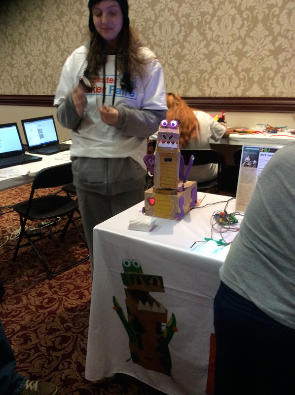 Make-your-own-robot by Bird Brain Technologies is a kit to make a robot out of recyclables. [PHOTO: Ella's Mom]
