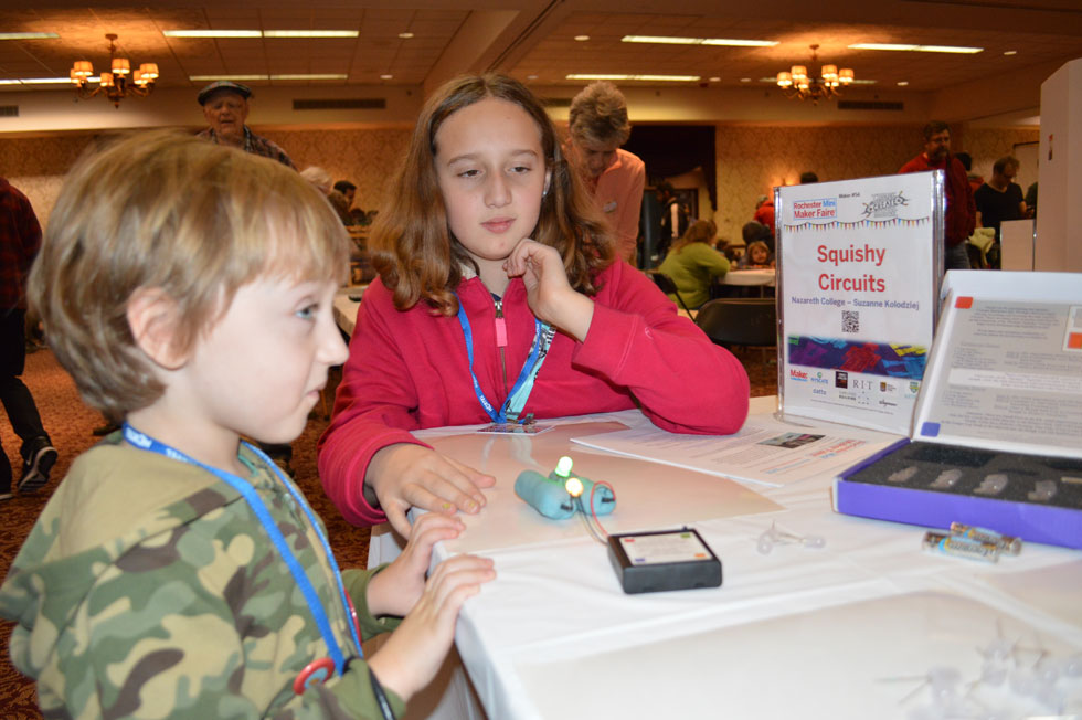 Squishy Circuits teaches circuitry to kids. They can use play-dough to make lights light up. [PHOTO: Ella's Mom]