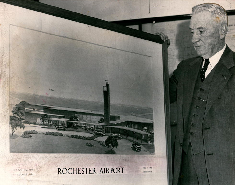This is the terminal was built on Brooks Avenue in 1953 and contained the mural in question. [IMAGE: Rochester Public Library Local History Division]