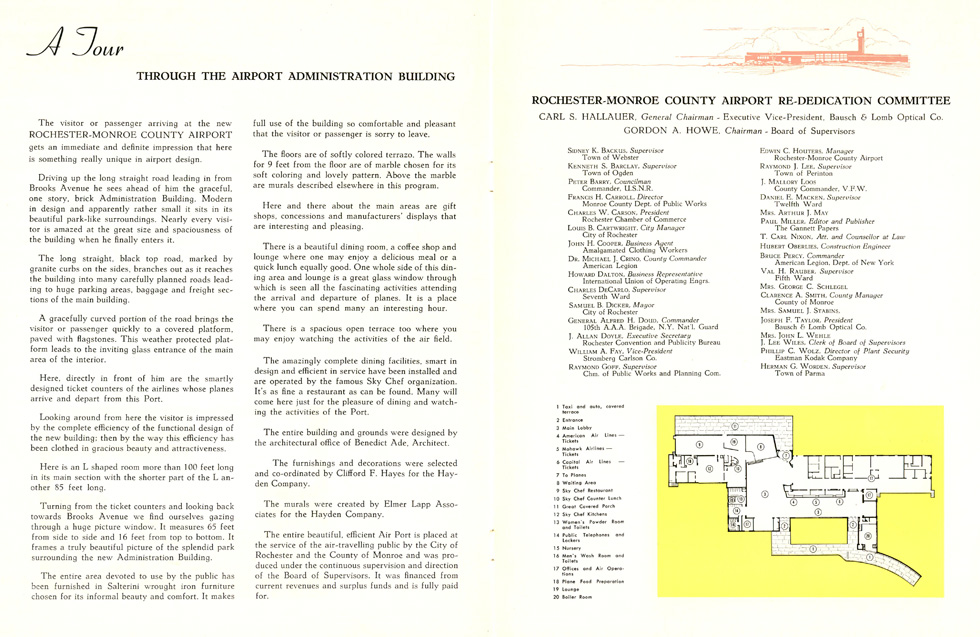The brochure contains a floor plan of the new Rochester Monroe County Airport terminal. [IMAGE: Rochester Public Library Local History Division]