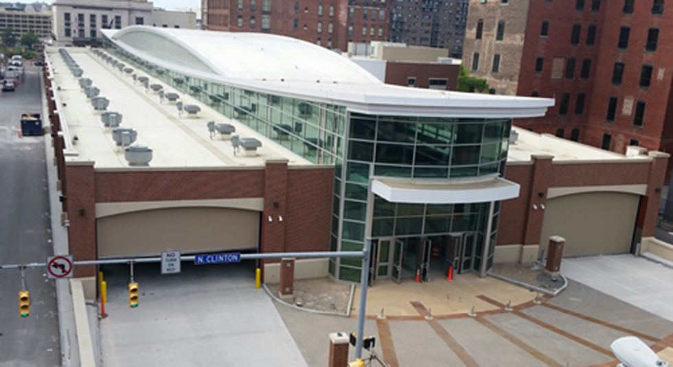 The new RTS Transit Center. Mortimer Street can be seen on the left edge of the photo. [PHOTO: informedinfrastructure.com]