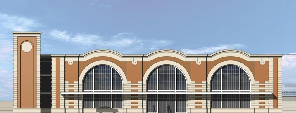 This is one of the architectural alternatives for Rochester's new intermodal rail station. It's a scaled down modern interpretation of the long demolished Union Station by Claude Bragdon.