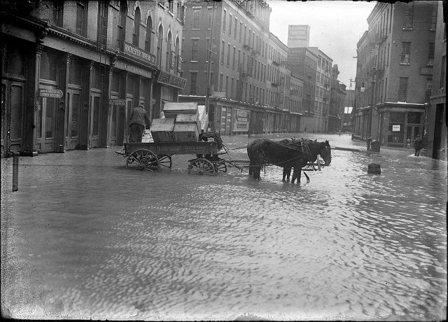 A horse and wagon stand in the middle of Mill Street during the 1913 flood. This is Mill Street at Andrews Street. Rochester Thread Company, F.A. Sherwood Company, John M. Forster Company, and Fahy Market are visible in the photo. March, 1913. [IMAGE: Albert R. Stone]
