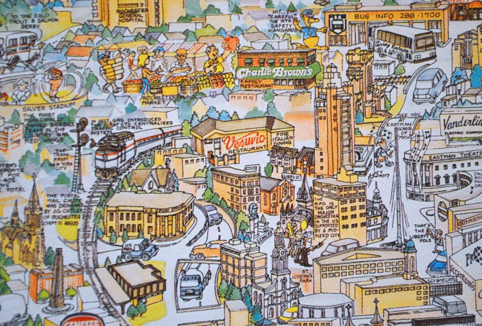 The Liberty Pole, Eastman Theater and the Rochester Public Market. See the old Silver Stadium in the upper left? This puzzle was produced in 1992. The Red Wings moved to Frontier Field in 1997.