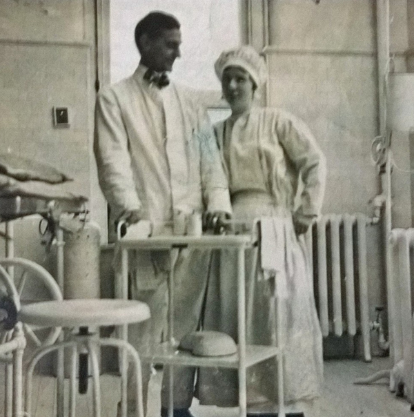 Katherine Fitzgerald Osborn (right) was a nurse at Rochester's Park Avenue Hospital. She's standing next to an unidentified doctor - possibly Dr. Williams (written on back side in pencil). [PHOTO COURTESY OF: John Zicari]