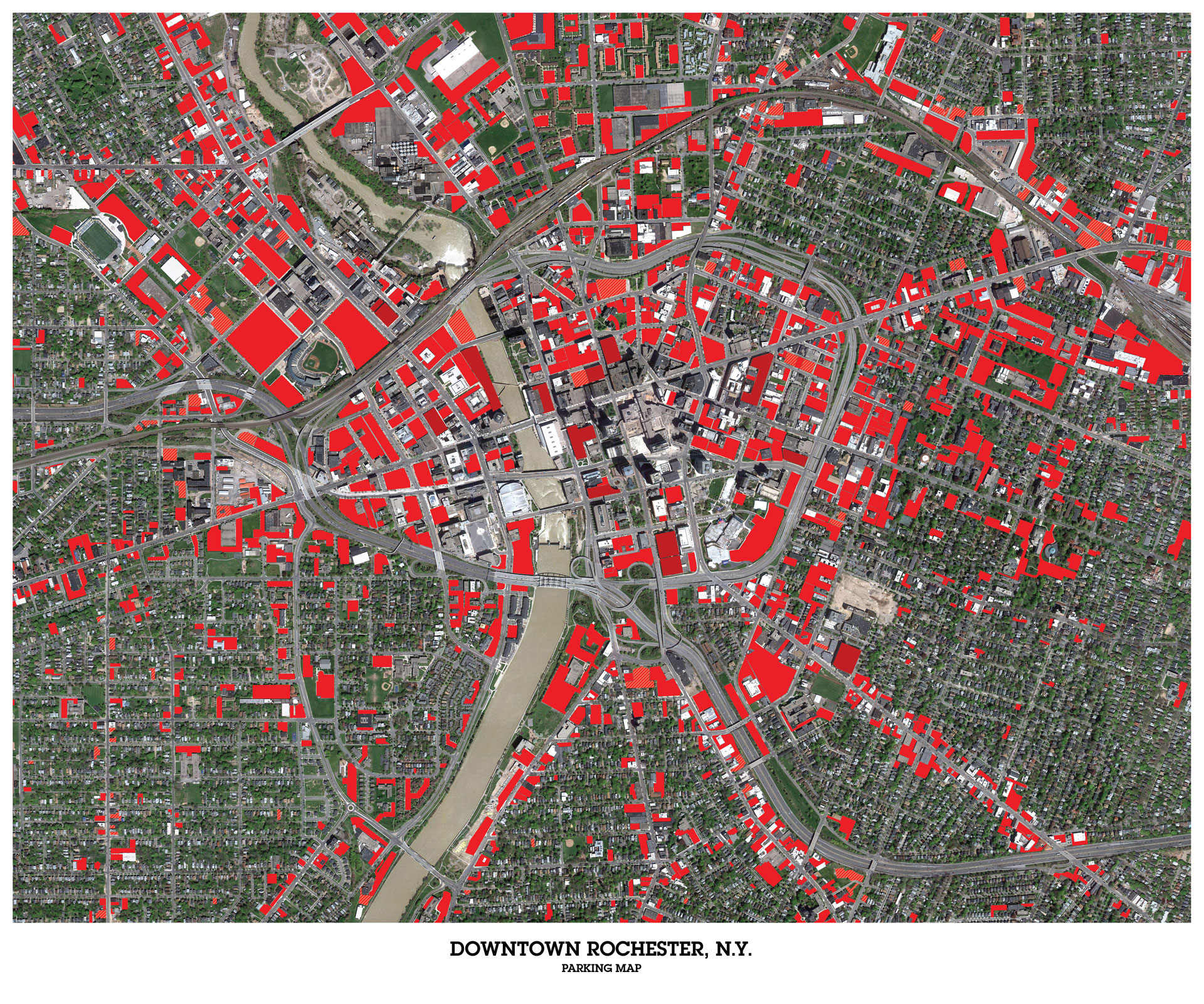 Downtown Rochester, N.Y. satellite view of parking areas.
