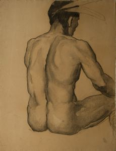 A charcoal figure study of a native American, for the mural
