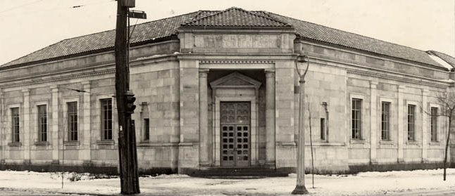 A view of the Pulaski branch of Rochester Public Library, which opened in 1933. It was originally known as the Hudson branch, but was renamed the Pulaski branch in honor of General Casimir Pulaski, Polish hero of the American Revolution. The library closed from lack of funding in 1994.  [IMAGE: Rochester Public Library Local History Division]