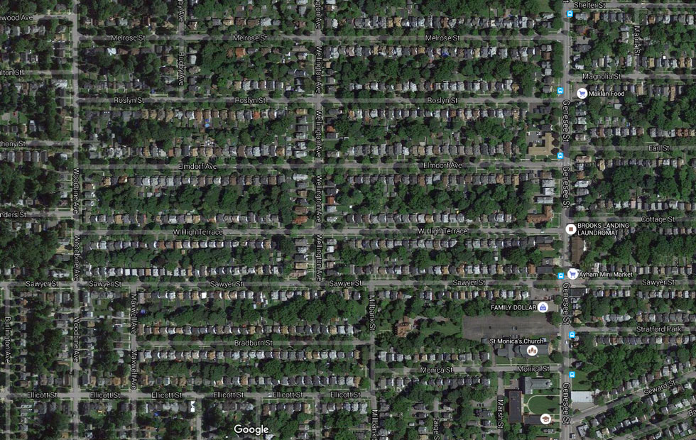 A Rochester residential zone. [IMAGE: Google]