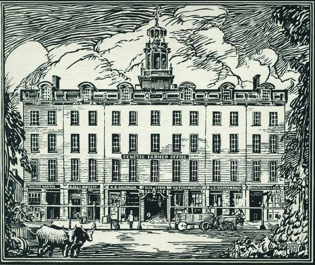 In 1823, on the site of the family home, Reynolds had built a 4-and-a-half-story commercial building – the Reynolds Arcade. Some people said it was the largest commercial building west of Albany at the time! [PHOTO: Rochester Public Library]