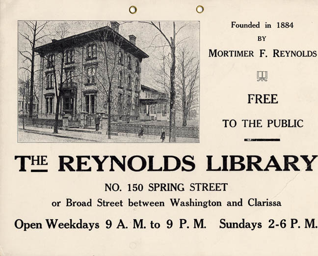 The Reynolds Library on Spring Street. Built in 1856 for Samuel Hamilton. Mortimer Reynolds bought the home in 1877 and lived in it until his death in 1892. The house was remodeled in 1895 and the Reynolds Library (incorporated in 1884) moved from the Reynolds Arcade to this mansion. In 1936 the collection was transferred to the Rundel Memorial Building. The mansion was then sold to the Rochester Institute of Technology in 1940. It was later razed for the construction of the inner loop. [PHOTO: Rochester Public Library]