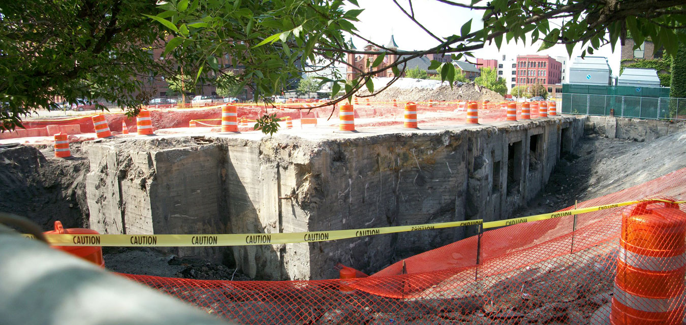 A close up of the under side of the auditorium floor. Looks like there's an entire building underneath there still.