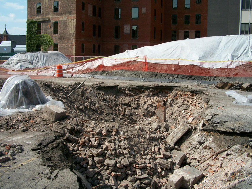 A close up of the RKO Palace rubble pit. These are probably bricks from the exterior of the front lobby.