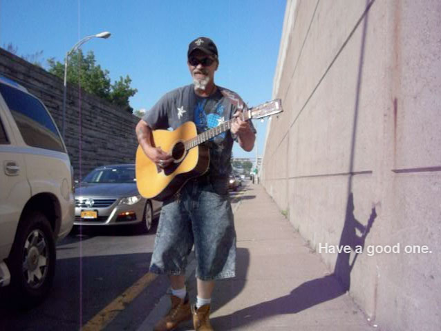 Rochester's roadside guitar guy (Dave) played us a ditty.