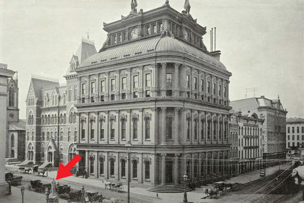 This was the corner of Main and Fitzhugh Streets (1884). Can you find Cogswell? [PHOTO: Rochester Public Library]