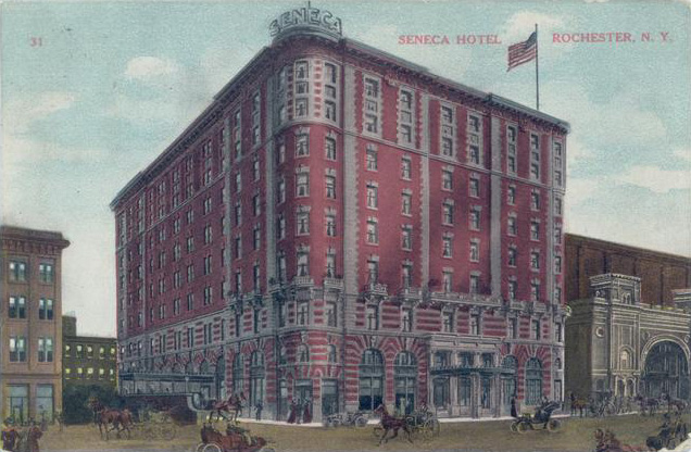 The Hotel Seneca opened in 1908 with 300 rooms, a ballroom, several dining and meeting rooms. [IMAGE: Vintage Postcard, Rochester Public Library]