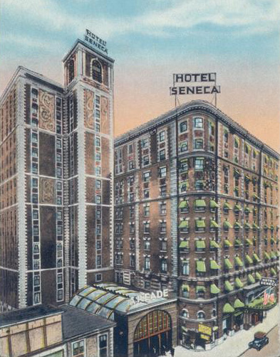 By the early 1920s a 10-story addition was added, making the Seneca Rochester's largest hotel with over 500 rooms. [IMAGE: Vintage Postcard, Rochester Public Library]