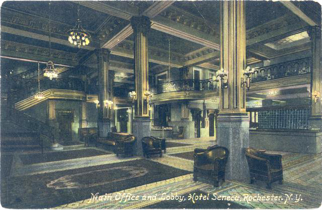 The main lobby of the Seneca Hotel. [IMAGE: Vintage Postcard, Rochester Public Library]