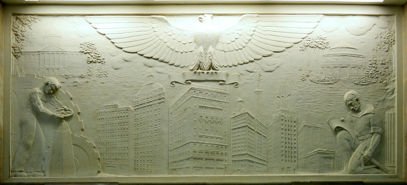 Sibley building elevator relief sculpture. [PHOTO: RochesterSubway.com]