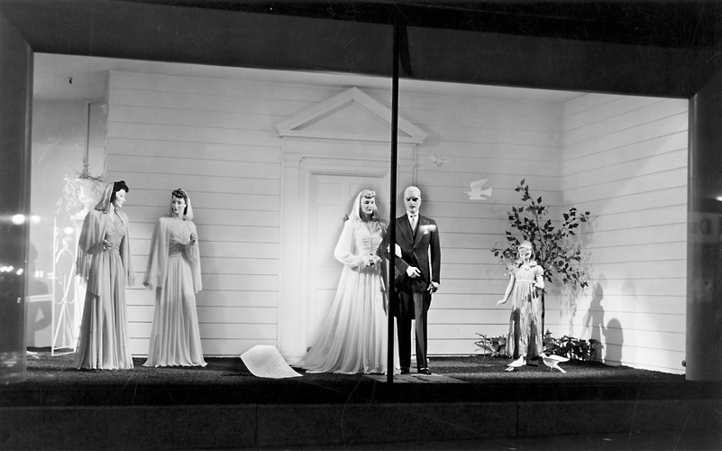 A Sibley's window display featuring mannequins in wedding fashions. 1940. [PHOTO: Rochester Public Library]