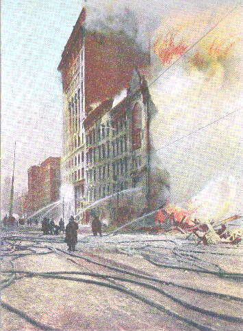 The Great Fire of 1904—in color—as depicted in a vintage postcard.