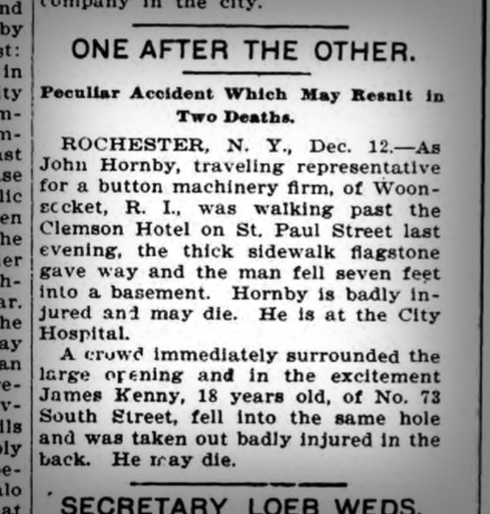 A newspaper clipping from the Elmira Daily Gazette and Free Press. December 12, 1901.