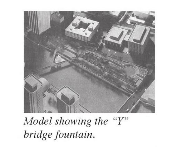A model showing Rochester's Sister Cities Bridge and the forgotten fountain. c1960s.