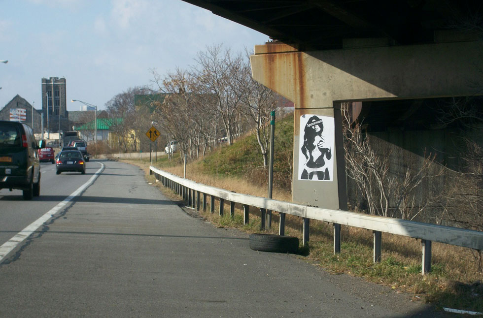 Another nude woman pops up on the side of I-490 at the Can of Worms interchange. She is facing westbound traffic. What's that over her eyes? Spaceman?
