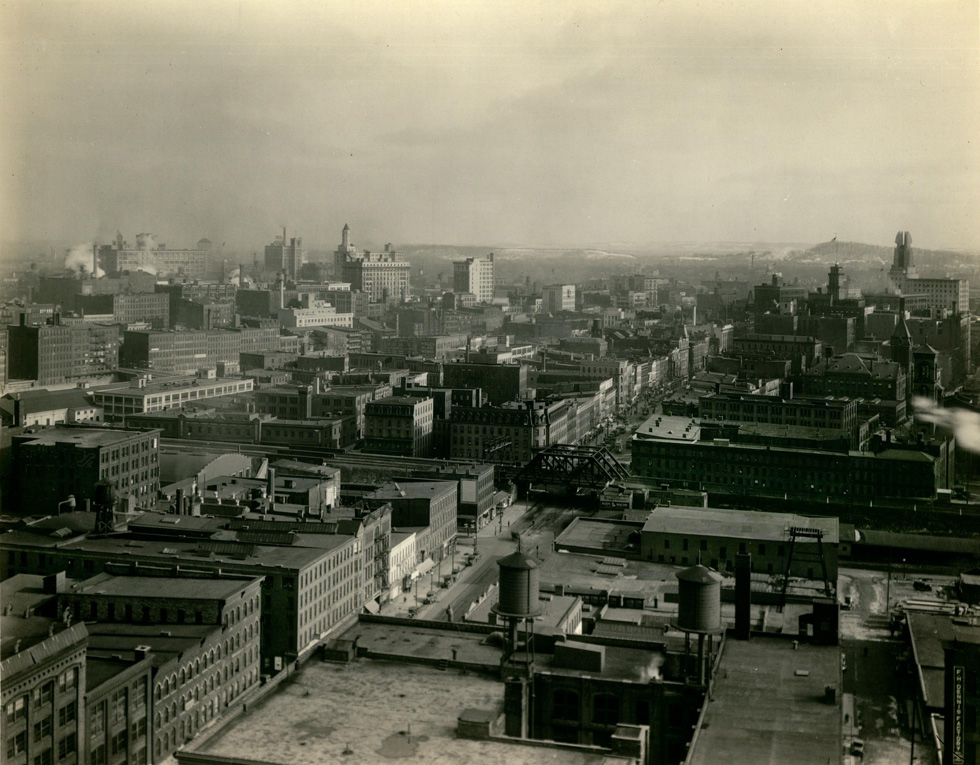 View of downtown Rochester from Kodak tower. [IMAGE: Rochester Public Library Local History Division]