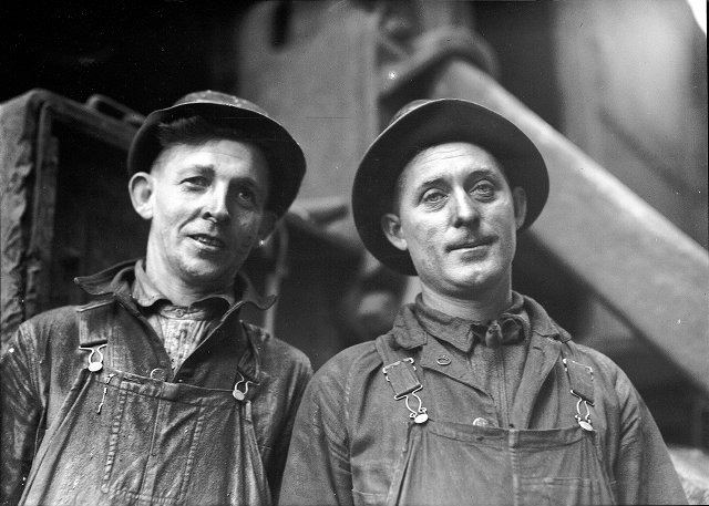 Bert Bitting and Jerry Kellerer, steam shovel operators working on deeping the Genesee River. c.1916. [PHOTO: Albert R. Stone Collection]